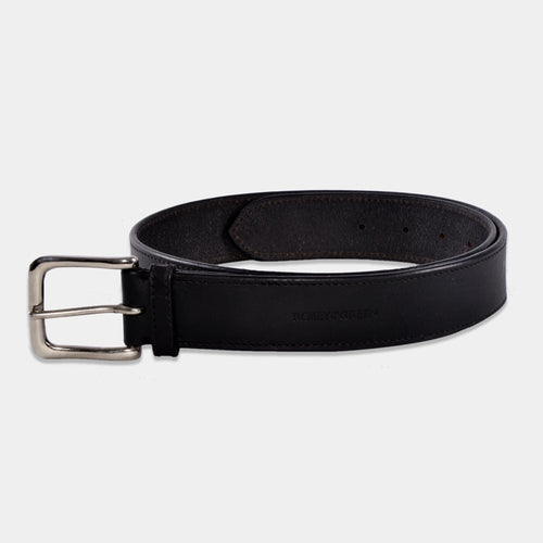 Maddox black leather belt with silver buckle