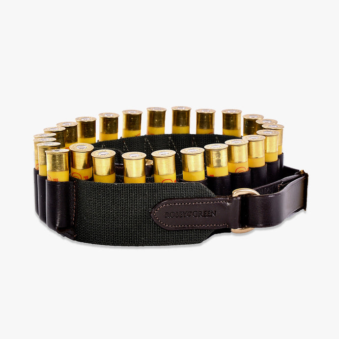 12 bore webbing and leather cartridge belt