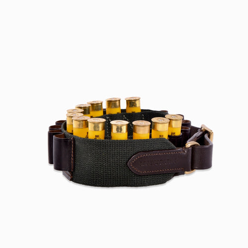 12g Robey & Green webbing and leather cartridge belt