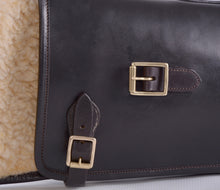 Load image into Gallery viewer, Brown leather gun slip with buckle and fleece lining