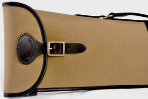 Canvas and leather gun slip with buckle and zip