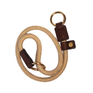 Rope Slip Collar with Brown Leather