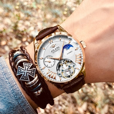 Image of AILANG Quality Tourbillon Men's Watch Men Moon Phase Automatic Swiss Diesel Watches Mechanical Transparent Steampunk Clock