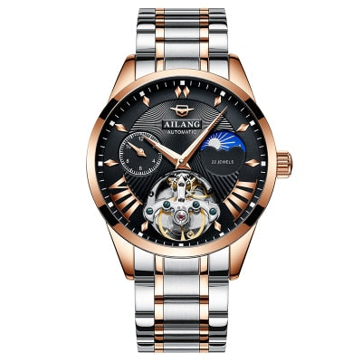 AILANG Quality Tourbillon Men's Watch Men Moon Phase Automatic Swiss Diesel Watches Mechanical Transparent Steampunk Clock