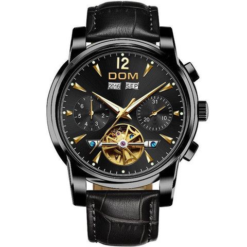 DOM Mechanical Watch Men Wrist Automatic Retro Watches Men Waterproof Black Full-Steel Watch Clock Montre Homme M-75BK-1MW