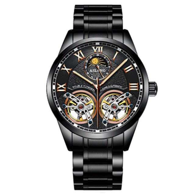 AILANG Original design watch men's double flywheel automatic mechanical watch fashion casual business men's clock Original