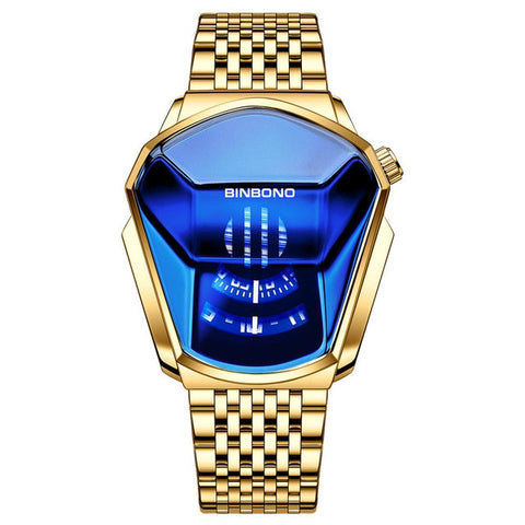 Image of Fashion Cool Locomotive Mens Watches Top Brand Luxury Quartz Gold Wristwatch Men Waterproof Geometric Shape Relogio Masculino