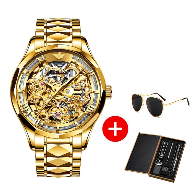 OUPINKE Luxury Men Watches Gold Skeleton Mechanical Watch Men Automatic Sapphire Glass Stainless Steel Wristwatch montre homme