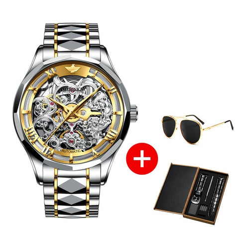 Image of OUPINKE Luxury Men Watches Gold Skeleton Mechanical Watch Men Automatic Sapphire Glass Stainless Steel Wristwatch montre homme