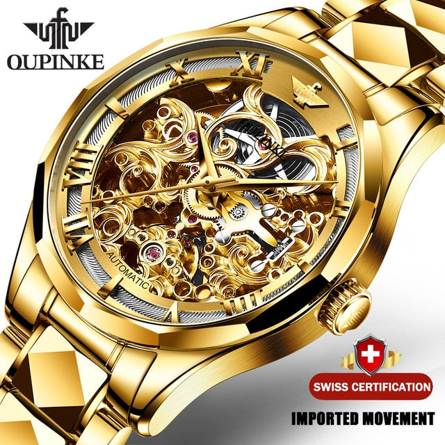 Swiss Brand OUPINKE Luxury Men Watches Automatic Gold Watch Men Tungsten Steel Business Mechanical Sapphire Crystal Wristwatch