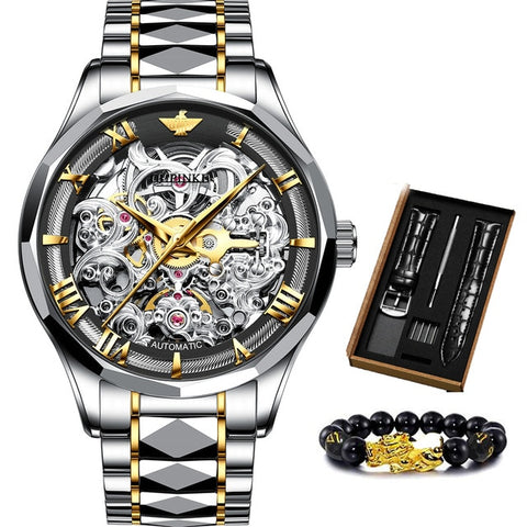 Image of Swiss Brand OUPINKE Luxury Men Watches Automatic Gold Watch Men Tungsten Steel Business Mechanical Sapphire Crystal Wristwatch