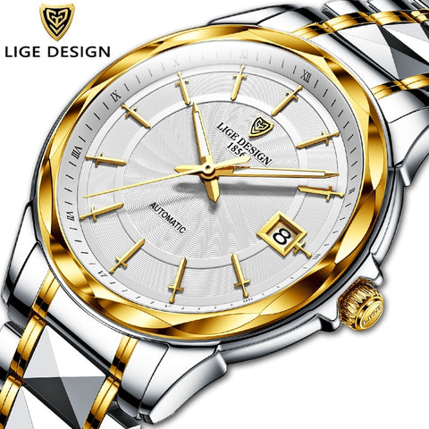 Image of 2021 New LIGE Sword-Shaped Pointer Automatic Mechanical Watch Luxury Tungsten Steel 50m Waterproof Business Watch Men Watches