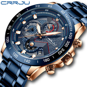 CRRJU 2021 New Fashion Mens Watches with Stainless Steel Top Brand Luxury Sports Chronograph Quartz Watch Men Relogio Masculino