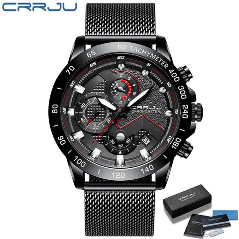 Image of CRRJU 2021 New Fashion Mens Watches with Stainless Steel Top Brand Luxury Sports Chronograph Quartz Watch Men Relogio Masculino