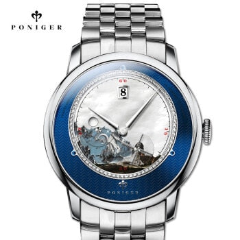 PONIGER Men Business 50M Waterproof Fashion Scenery Dial Windmill Second Hand Automatic Self-wind Mechanical Wrist Watches