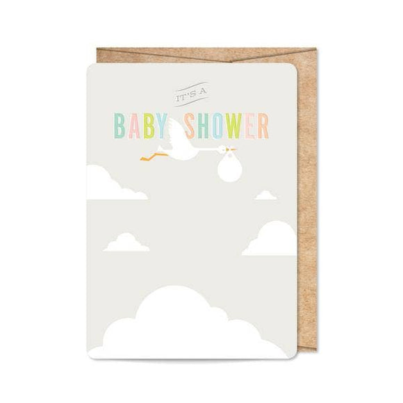 Grey Stork Baby Shower Invitation