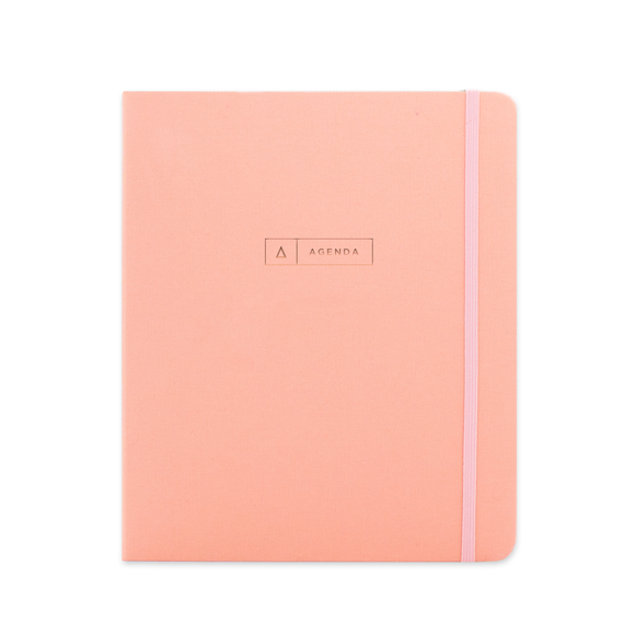 Undated 17M Hardcover Spiral Planner - Coral Pink