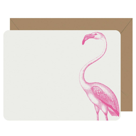 Letterpress Jess - Note Cards Letterpress Flamingo - Boxed Set of 8
