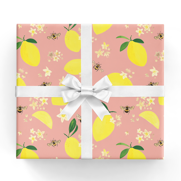 REVEL & Co. - Lemons and Bees Wrapping Paper Sheet