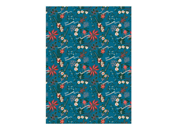 Red Cap Cards - Blue Poinsettia Wrap