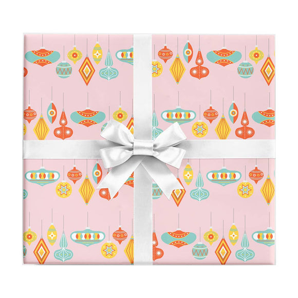Palm Springs Christmas Ornaments Wrapping Paper Sheet