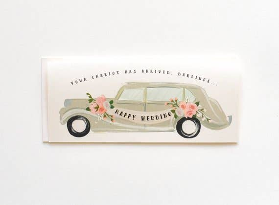 The First Snow - Happy Wedding Chariot Has Arrived Card