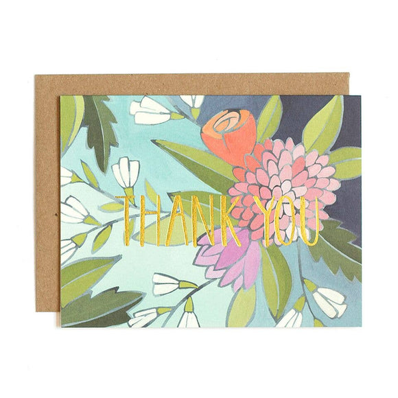 Floral Foil Thank You Greeting Card Stationery