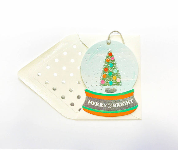 The First Snow - Merry & Bright Snowglobe Ornament Card