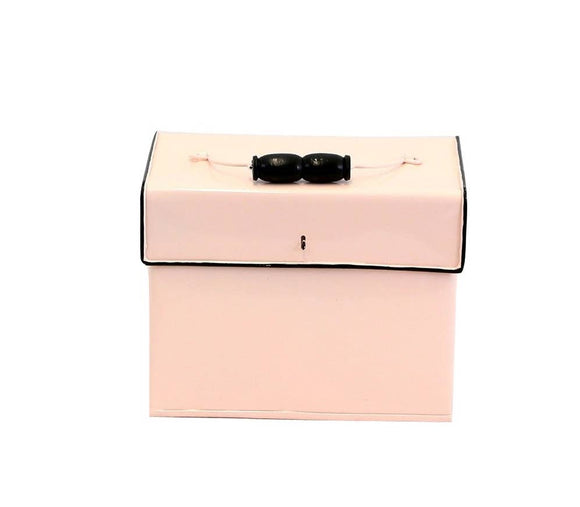 Pink Enamel Metal Recipe Box