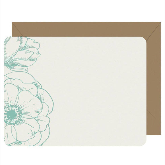 Letterpress Jess - Note Cards Letterpress Peonies - Boxed Set of 8