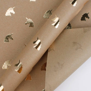 LA Ribbons & Crafts INC - Unicorn Gold Foil Kraft Wrapping Paper Sheets