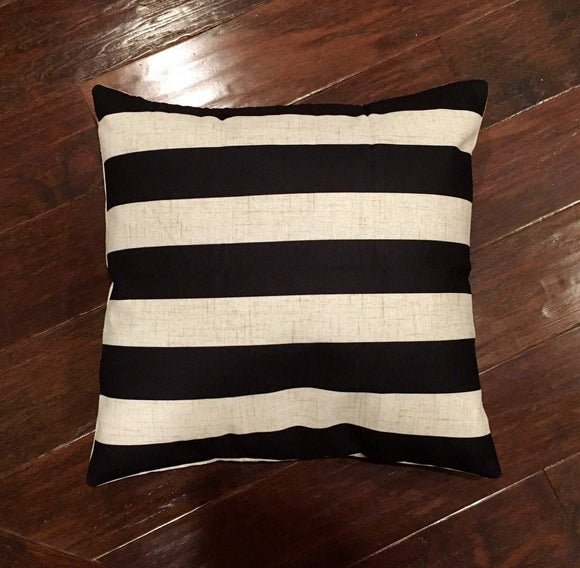 Black Stripe 18x18 Pillow with Removable Cover