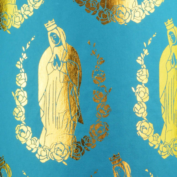 Virgin Mary - Turquoise/Gold Foil - Flat Wrapping Paper Sheet - MIDORI Inc.