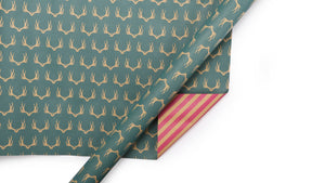 LA Ribbons & Crafts INC - Stripe & Reindeer Reversible Kraft Wrapping Paper Sheets