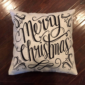 "Merry Christmas Pillow with  18"" x 18"" removable cover"