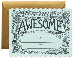Rifle Paper Co. - Certificate of Awesome Card