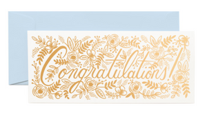 Champagne Floral Congrats No. 10 Card - Rifle Paper Co.