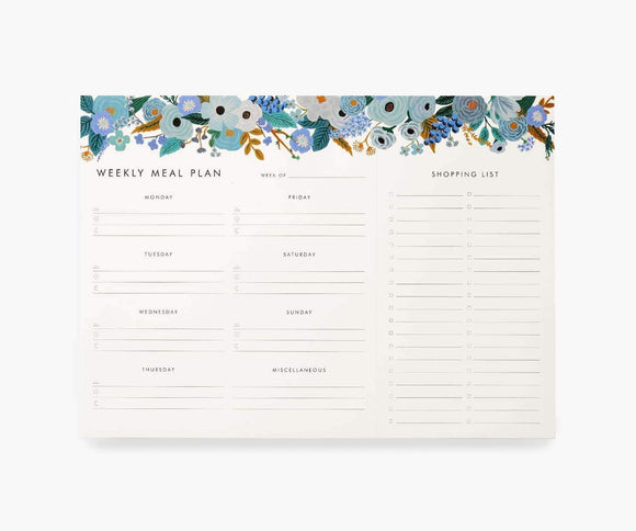 Rifle Paper Co. - Garden Party Blue Meal Planner Notepad