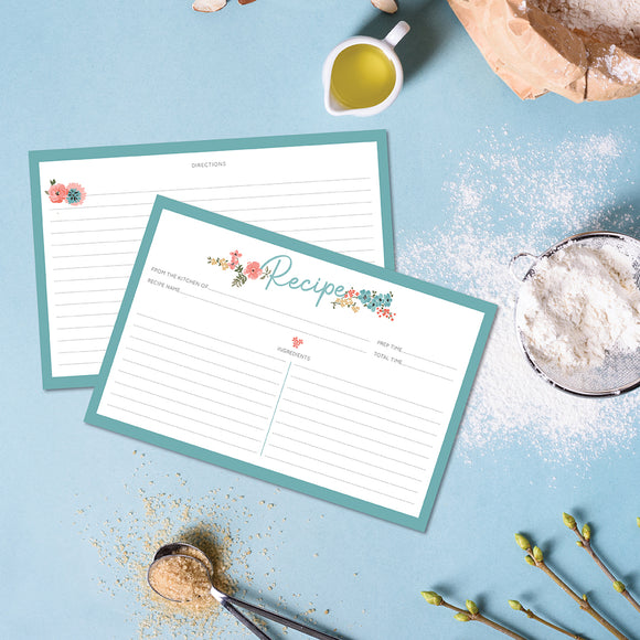 Recipe Cards - 10 Pack Blue Floral