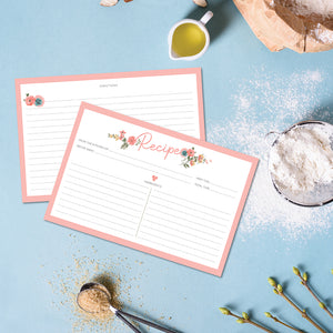 Recipe Cards - 10 Pack Pink Floral