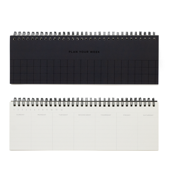Undated Grid Weekly Planner - Black