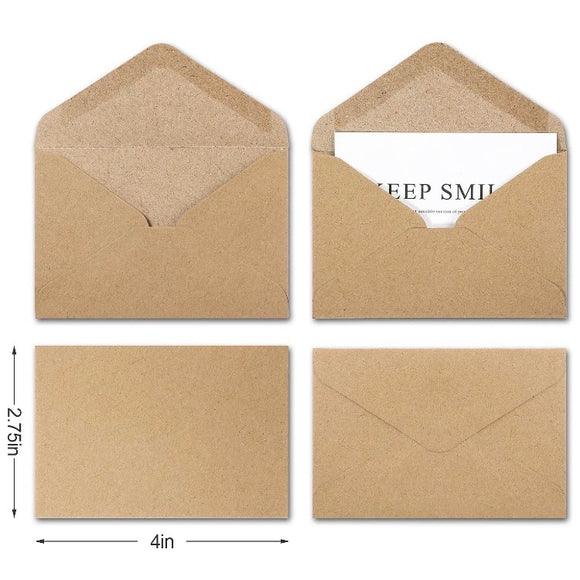 "Mini Kraft Envelopes 4"" x 2.75"" - 10 Pack"