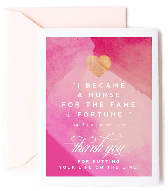 Fame & Fortune, Nurse Thank You Card - Nurse Appreciation