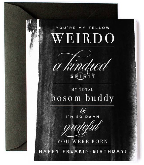 Bosom Buddy Funny Birthday Card - Black watercolor card