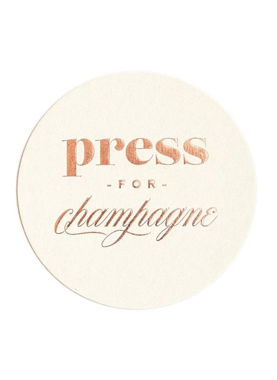 Press for Champagne - Foil Coaster Set, Champagne Gift
