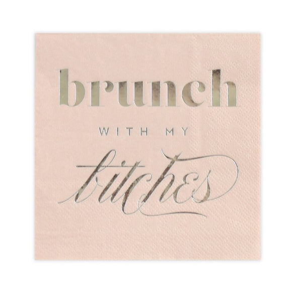 Brunch with My B*tches, Blush Funny Cocktail Party Napkins