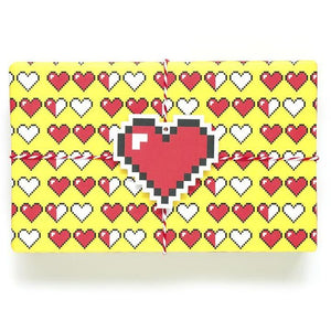 8 Bit Heart Wrapping Paper Sheets