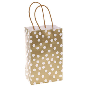 Small Gift Bag Set: Set of 6 White Dots on Gold Bags, 5 x 8 inches