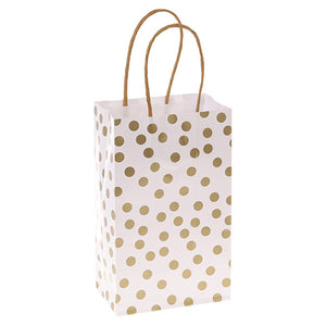 Small Gift Bag Set: Set of 6 Gold Dots on White Bags, 5 x 8 inches