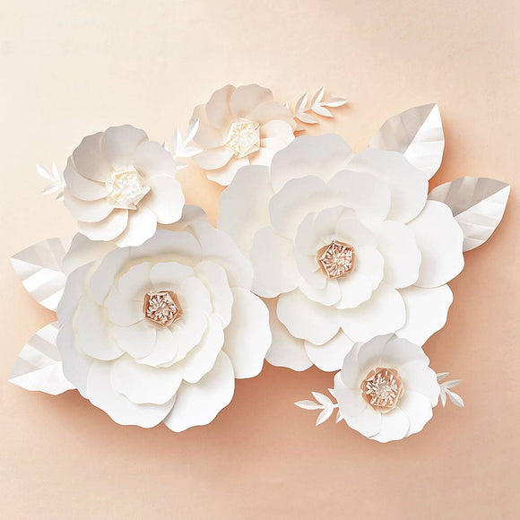Big Bloom White Paper Flowers Kit